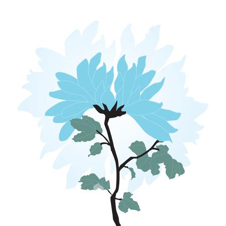 Blue Chinese style flower Illusztráció