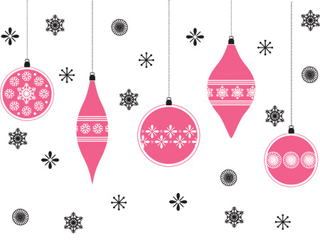 Pink Christmas baubles background Vector