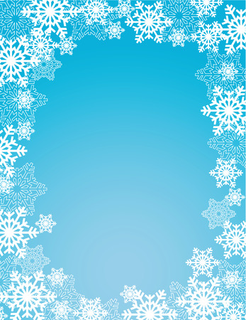 holiday: winter holiday blue snowflakes frame