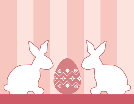 Easter bunnies with a decorated Easter egg Stock Vector - 6967795