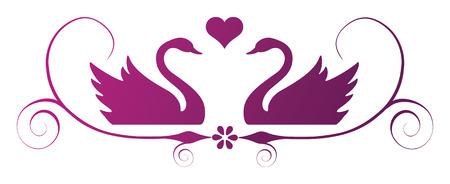 Twee swans met hart en krullen Stock Illustratie