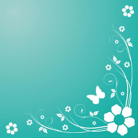 Krullen op blauwe achtergrond met bloemen en vlinder