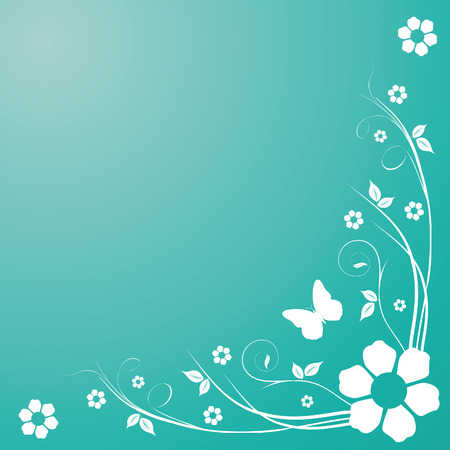 butterfly background: Swirls on blue background with flowers and butterfly
