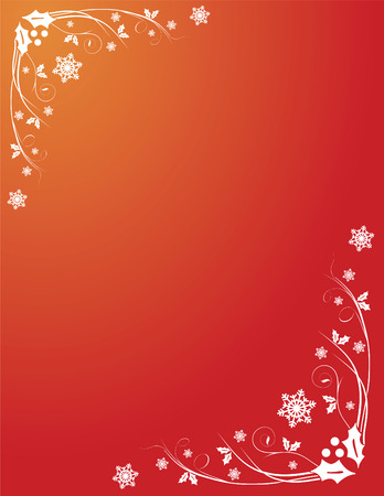 snowflakes and holly holiday corner swirly ornament Stock Vector - 6096760