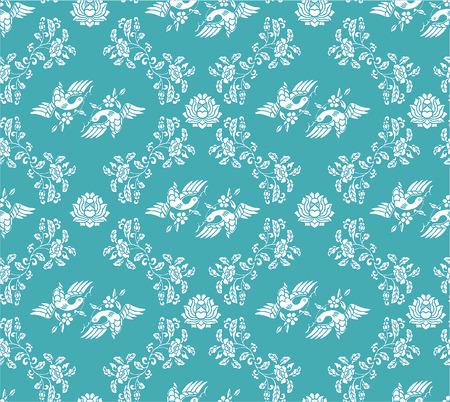 Seamless damask bird and flower blue wallpaper
