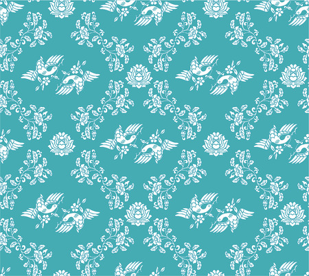 Seamless damask bird and flower blue wallpaper