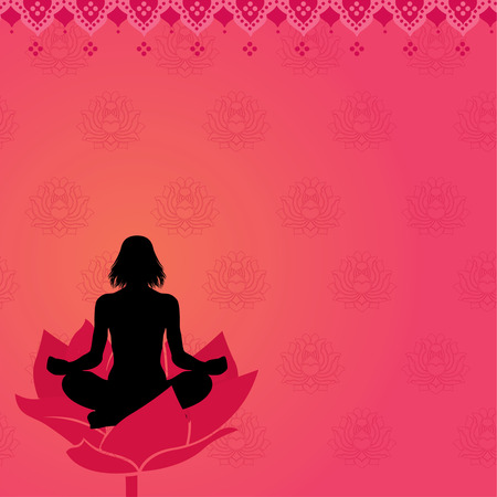 Pink yoga meditation background  Vector