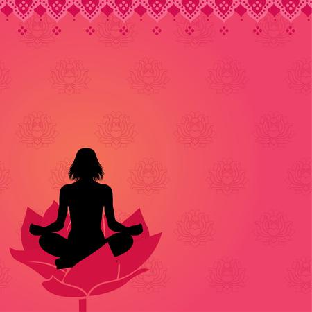 positions: Pink yoga meditation background