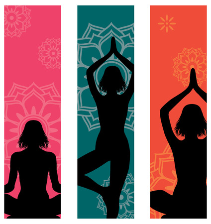 positions: Set of 3 colorful yoga banners