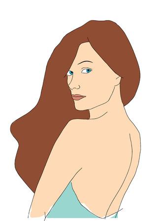 Pretty jonge vrouw kijkt achter haar rug