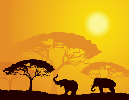 east africa: African landscape with elephants Illustration