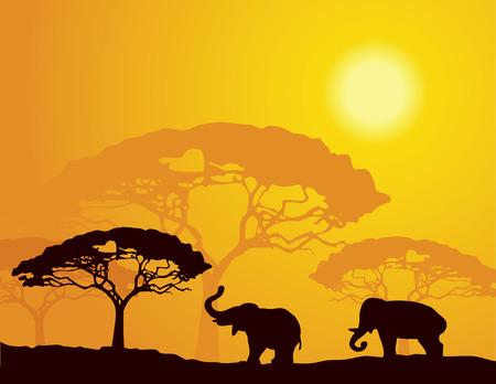 African landscape with elephants Ilustração