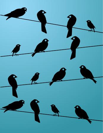 Vogels op draad patroon Stock Illustratie