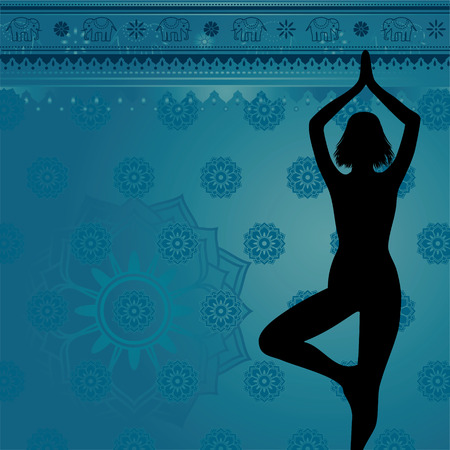 Blue yoga and meditation background with flowers and elephants Vector