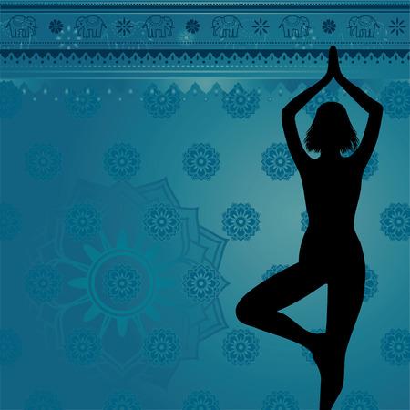 indian yoga: Sfondo blu di yoga e meditazione con fiori e gli elefanti