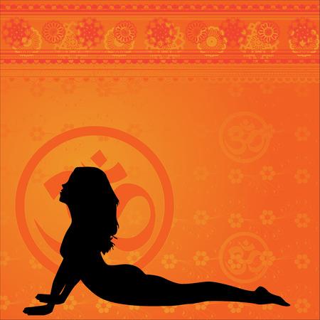indian yoga: Sfondo giallo di yoga e meditazione con elementi floreali
