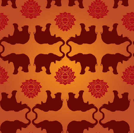 east indian: Oriental elephant and lotus seamless pattern background