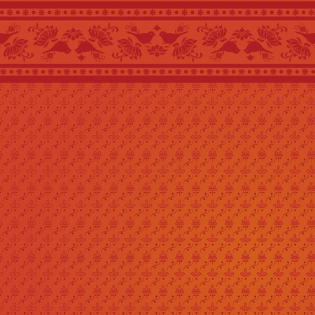 Indian floral bird saree background design Illustration