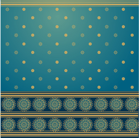 Traditional blue and golden Indian saree background  Vector