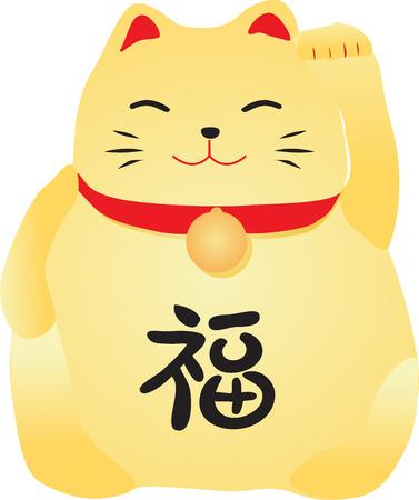 中国の幸運の猫  イラスト・ベクター素材
