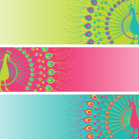 Set of 3 colorful traditional Indian henna peacock design with space for text Vector