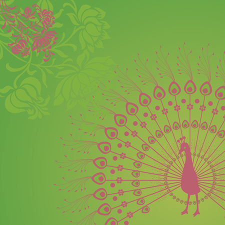 Pink henna peacock design on green background with space for text Vector