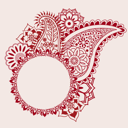 mandala: Henna paisley design with space for text