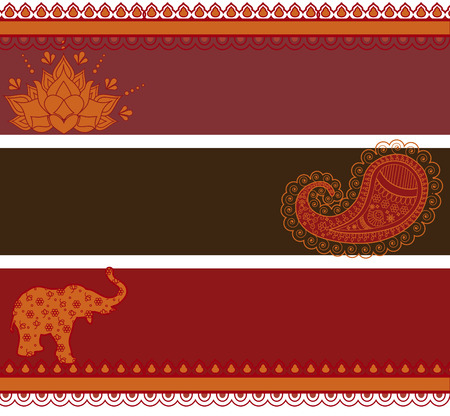 Set of 3 banners in traditional Indian style with space for text  Vectores