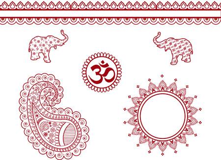 henna design: Conjunto de elementos de dise�o de henna Vectores