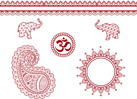 Set of henna design elements  Vector