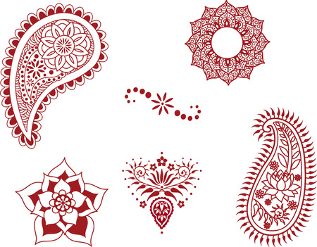 Set of henna design elements  Vector