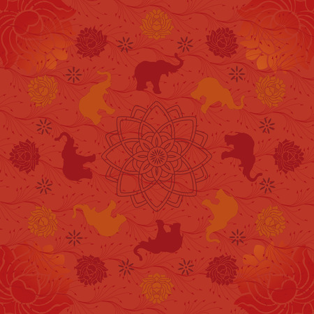 Indian style elephant and lotus pattern background  Illustration