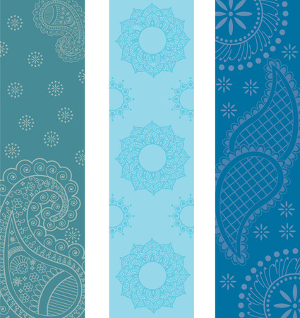 Indian traditional paisley design vertical banners Vector