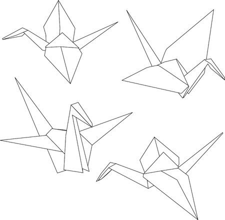 Grues traditionnelles de papier d'origami japonais Vecteurs