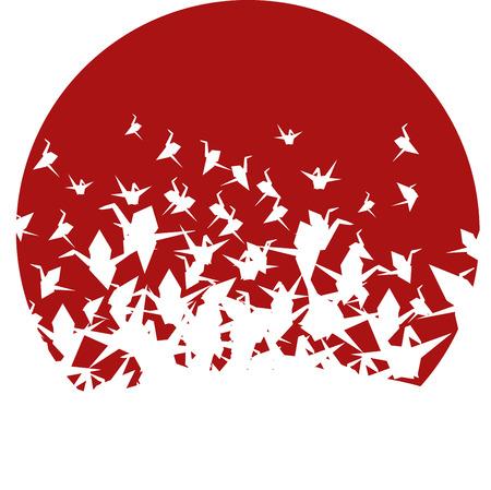Round Japanese origami paper cranes pattern