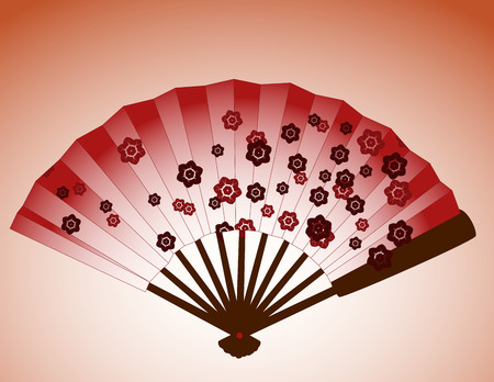 Traditional Japanese cherry blossom fan