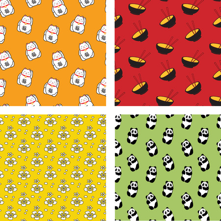 Set of Four Japanese Seamless Patterns in Cartoon Style  Illustration