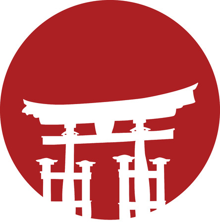 japanese temple: Japanese temple gate on red sun with space for text