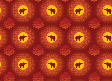 east indian: Seamless Indian style lotus and elephant pattern wallpaper