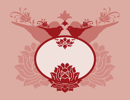 Find Similar Images Pink traditional lotus and bird banner with space for text  Illustration