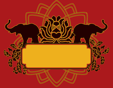 Indian elephant and lotus banner with space for text