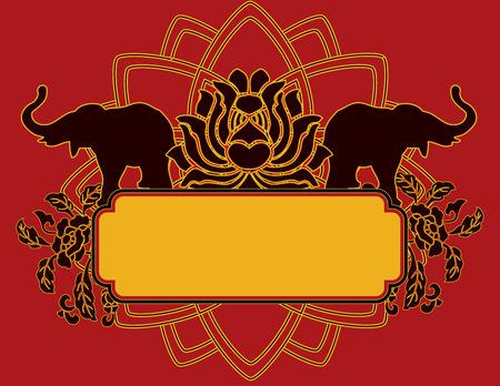 siluetas de elefantes: Elefante y loto bandera india con el espacio para el texto