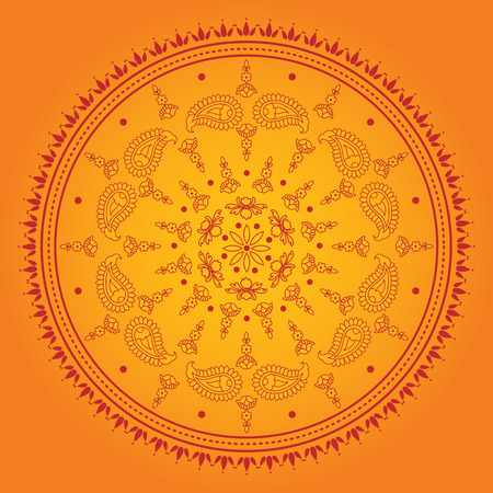 mandala: Orange Indian mandala design