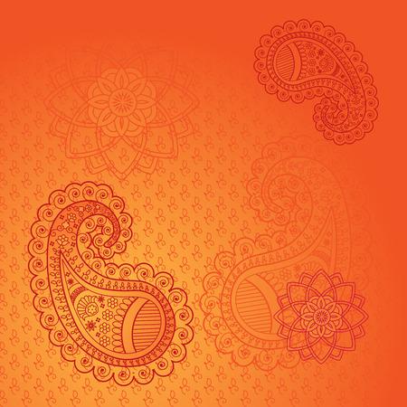 bollywood: Orange paisley indian henna background