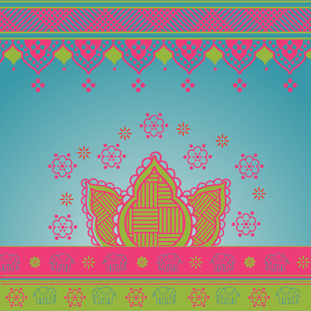 Colorful traditional Indian lotus saree background  Illustration