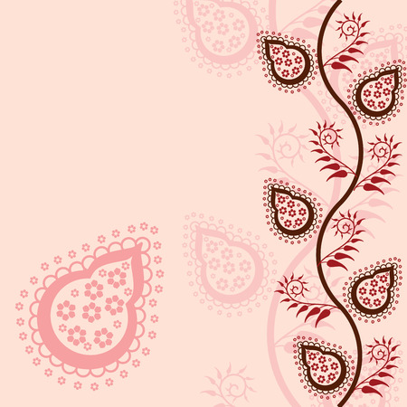 Pink traditional paisley floral background with space for text