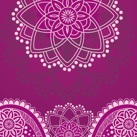 Purple Indian henna design with space for text Illustration