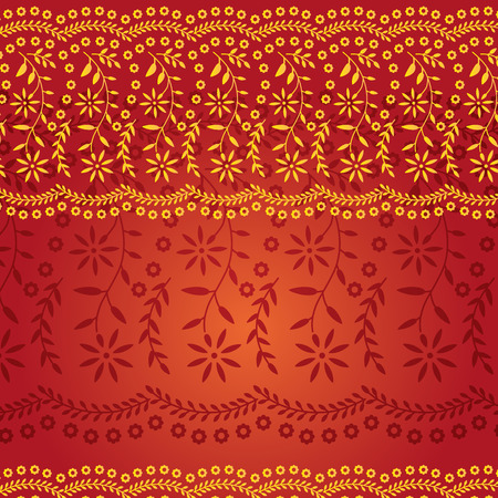 Red and Gold Traditional Indian Saree Pattern  Vector