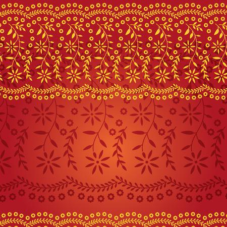 Rood en Goud Traditionele Indiase Saree Patroon