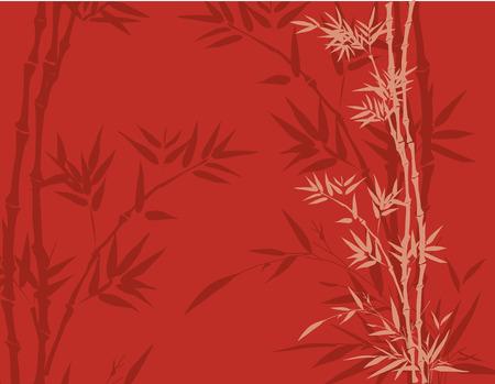 Red oosten Aziatische traditionele bamboe achtergrond met ruimte voor tekst Stock Illustratie
